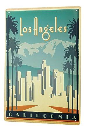 Blechschild Reisen Küchen Deko Los Angeles CA Metall Wand Schild 20X30 cm