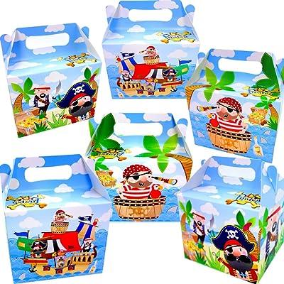 German Trendseller 6 x cajas pirata de cumpleaños ┃con aso para llenar ┃para regalo ┃fiestas infantiles┃ idea de regalo┃cumpleaños de niños┃ 6 unidades: Juguetes y juegos