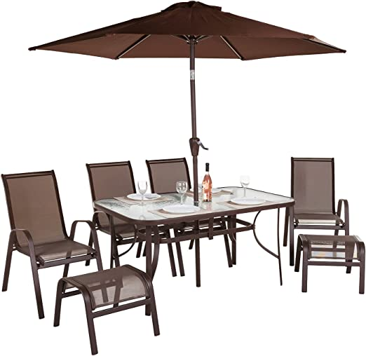 Alfresia Madeira - Conjunto de muebles de jardín (8 unidades, incluye: mesa, sombrilla y reposapiés): Amazon.es: Jardín