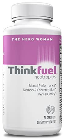 Thinkfuel For Women Nootropic Supporting Brain Function, Energy Levels Mental Clarity w DMAE, Ginkgo Biloba, L- Theanine, B Vitamins B2, B3, B6 B12 , and Caffeine. 60 Capsules