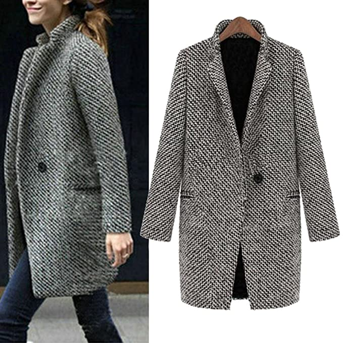 5956f4f5ec965 Amiley Women Slim Winter Warm Wool Lapel Long Houndstooth Coat Trench Parka  Jacket Overcoat Outwear (