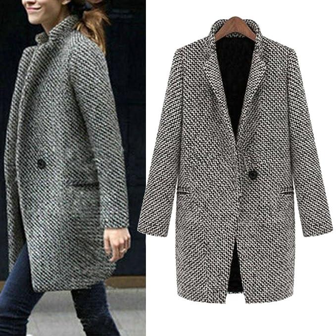 9ffd695b81465 Amiley Women Slim Winter Warm Wool Lapel Long Houndstooth Coat Trench Parka Jacket  Overcoat Outwear (
