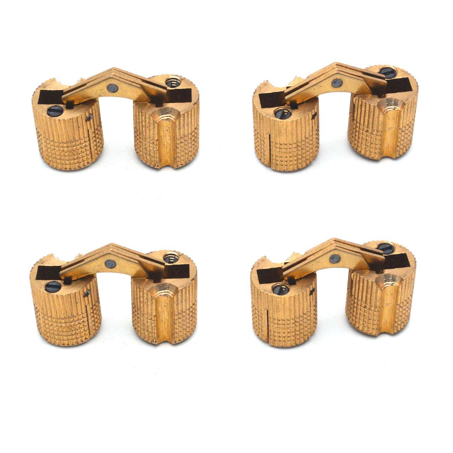 Antrader 4-Pack 14mm Hidden Brass Barrel Hinges Cylindrical Invisible Concealed Furniture Hinges 180 Degree Opening Angle Guangzhou Openfind Electronic Commerce CO. LTD