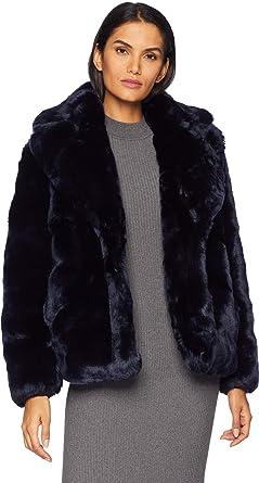 d0bcdf81 Vince Camuto Women's Short Faux Fur Jacket R8671 Navy Medium at ...