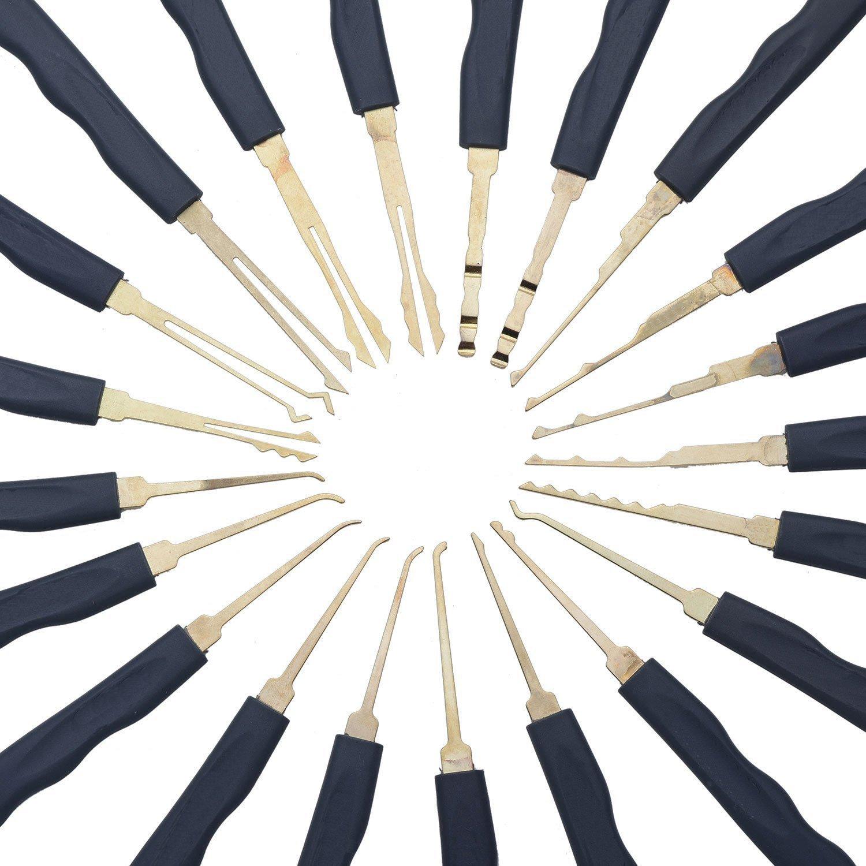 Cl/és Geepro 25 Pi/èces Lock Pick Kit Crochetage Ensemble de Serrure de Serrure Premium Practice 24pcs Divers Crochets Crochet One Blue Visible Cutaway Cadenas avec 2 Cl/és