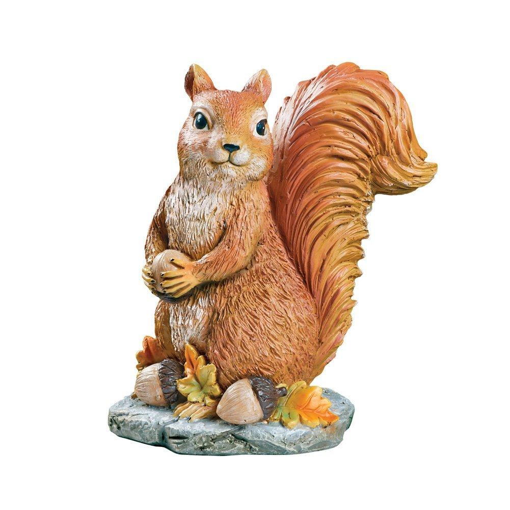 Collections Etc Sylvester Squirrel Garden Statue with Acorns, Fall Outdoor or Indoor Décor