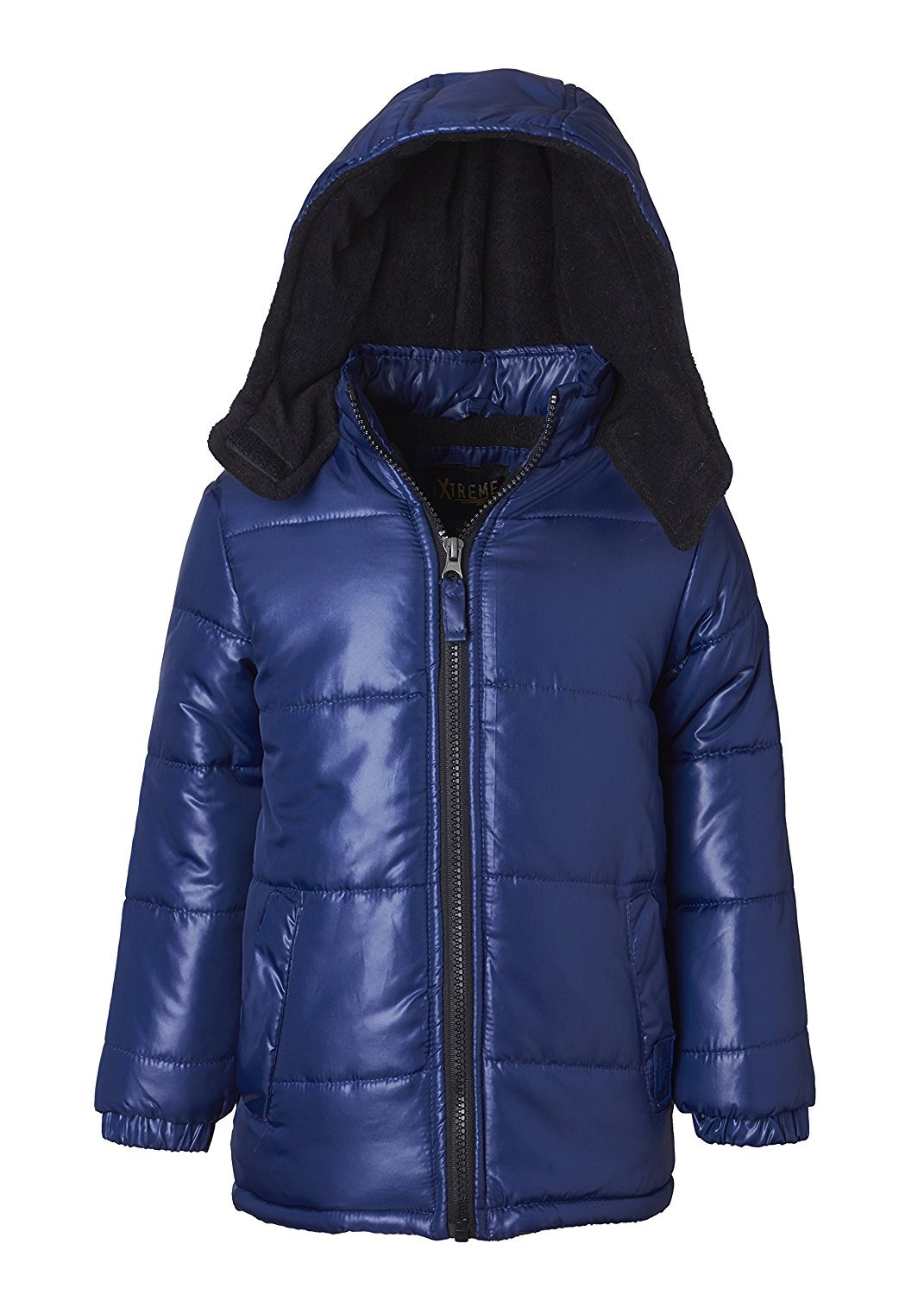 iXtreme Little Boys Down Alternative Hooded Winter Puffer Bubble Jacket Coat, Navy, 4T
