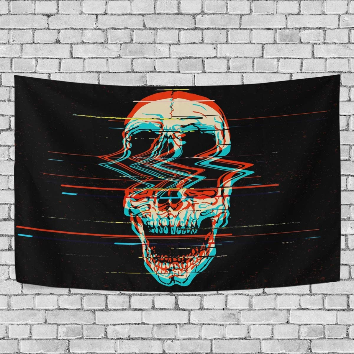 Baofu Skull Tapestry Wall Hanging Tapestries Happy Halloween Colorful Scare Hippie Psychedelic Vintage Polyester Carpet Decorative for Living Room Bedroom Bedroom 90x60inch