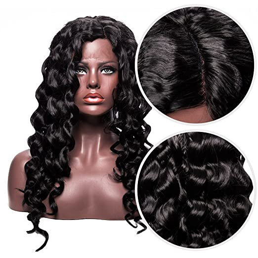 Amazon.com : Long Curly Lace Front Wig for Women Black Color Heat Resistant Synthetic Hair 24 Inch : Beauty