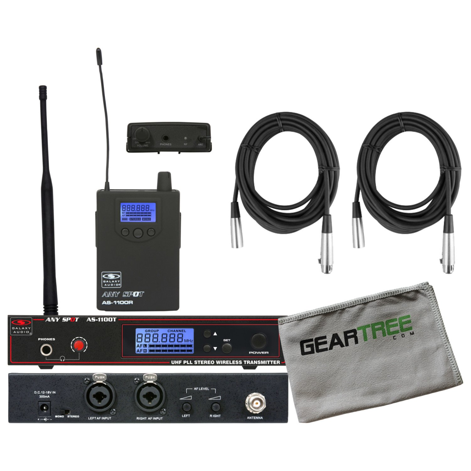 Galaxy Audio 1100 Series WPM Wireless Monitor System D Band w/ EB4 Earbuds, Clea