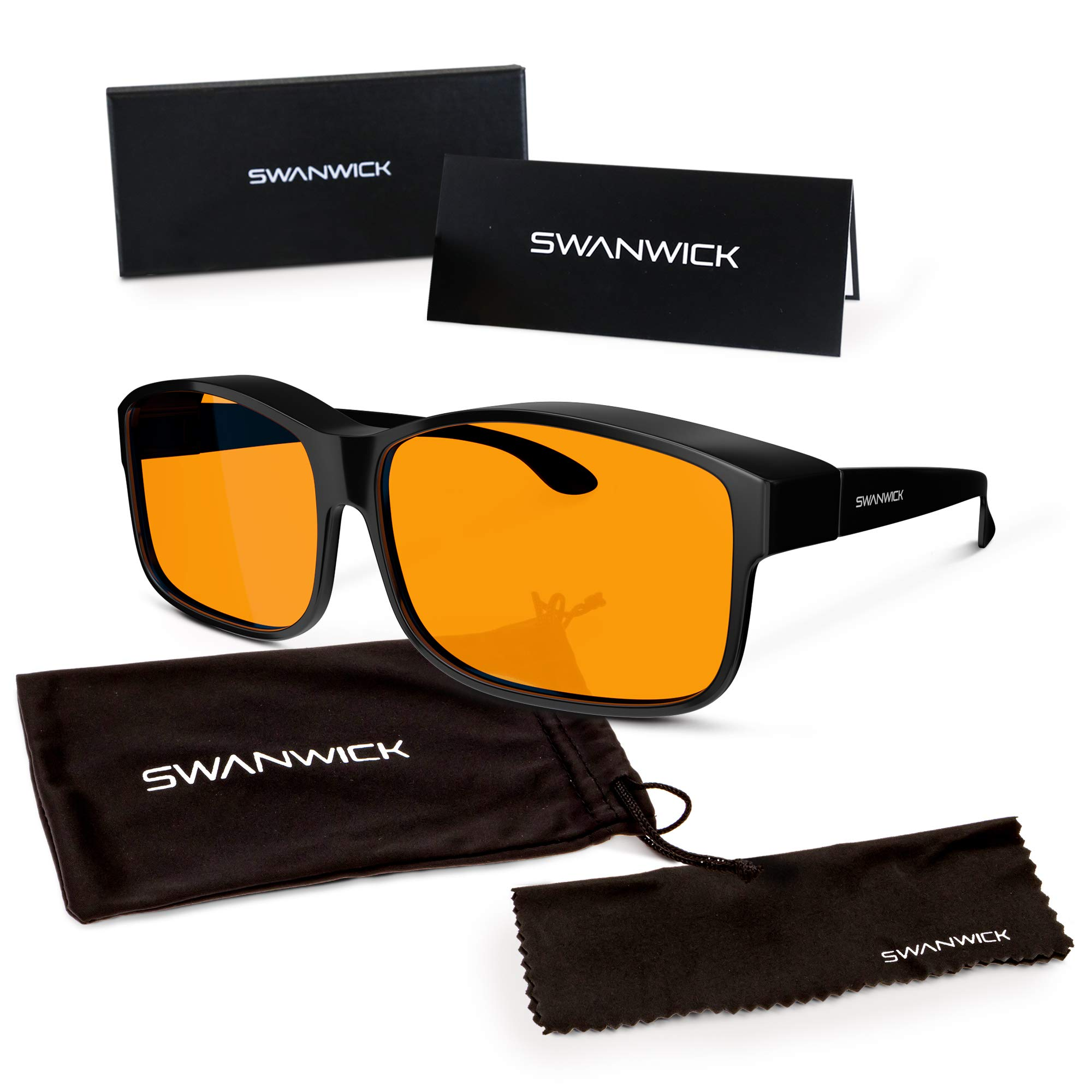 Swannies FITOVER Blue Light Blocking Glasses for Night USE with an Orange Tint Wearable Over Your Readers or Prescription Spectacles - (Black) Large by Swanwick Sleep