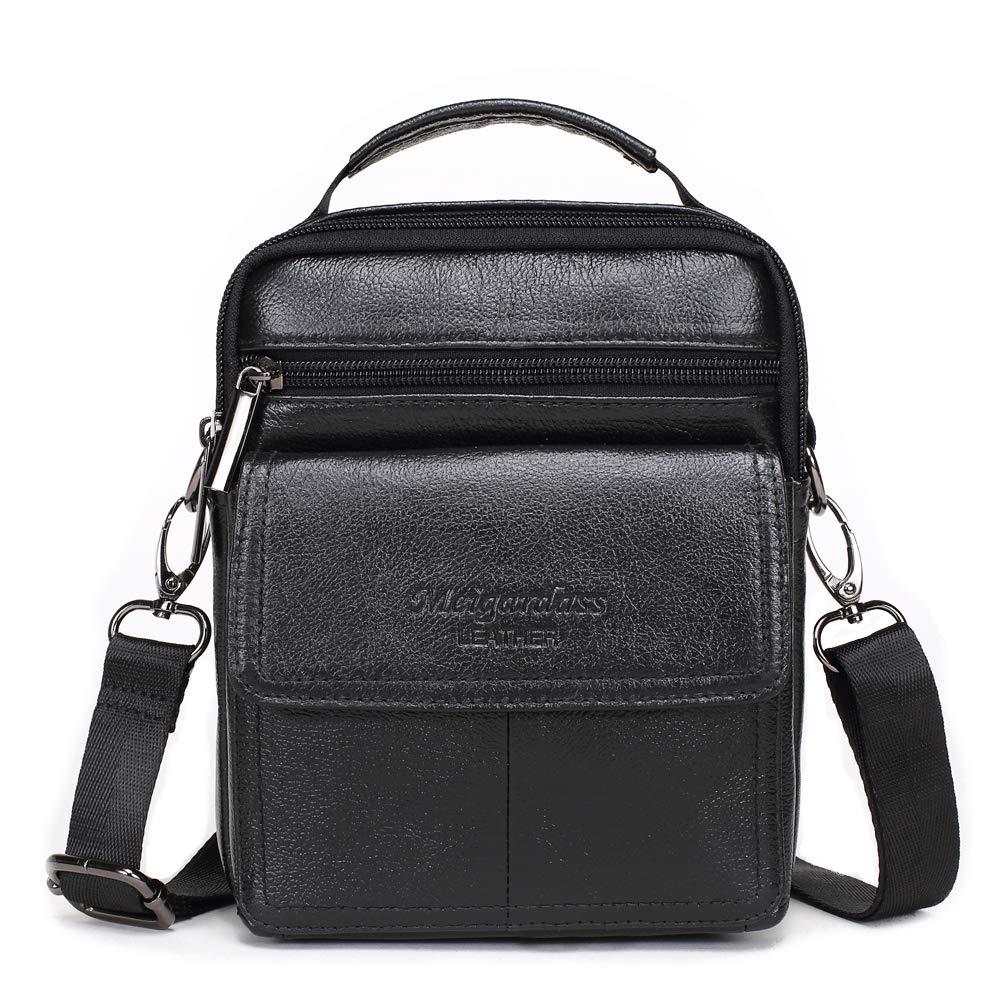 Meigardass Men's Genuine Leather Small Messenger Bag Shoulder Bag Briefcase Handbag (black)
