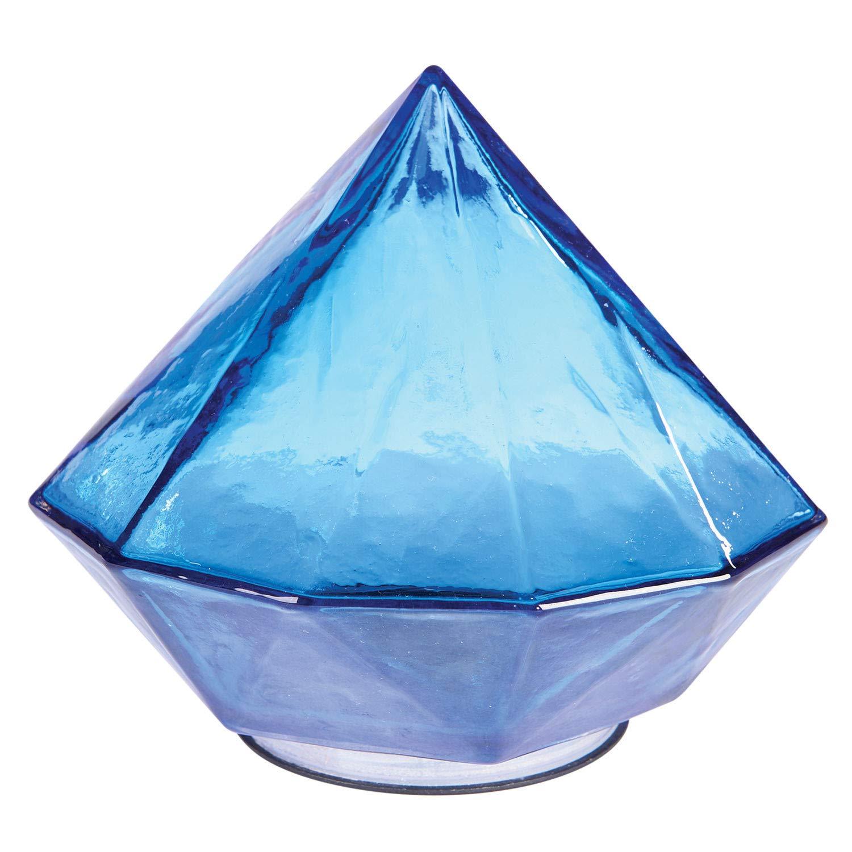 ART & ARTIFACT Solar Glass Gem Garden Path Light - Diamond Shape Blue Sapphire Jewel Night Light with On/Off Switch