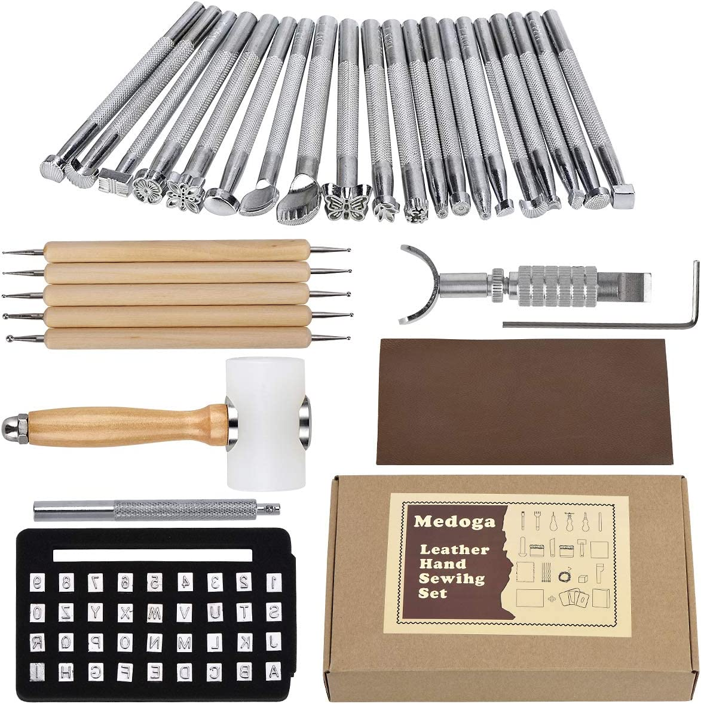 20pcs Leather Craft Stamping Puncher Tools Set Manual Craft Embossing Kit for Saddle Making Working Stamper Carving