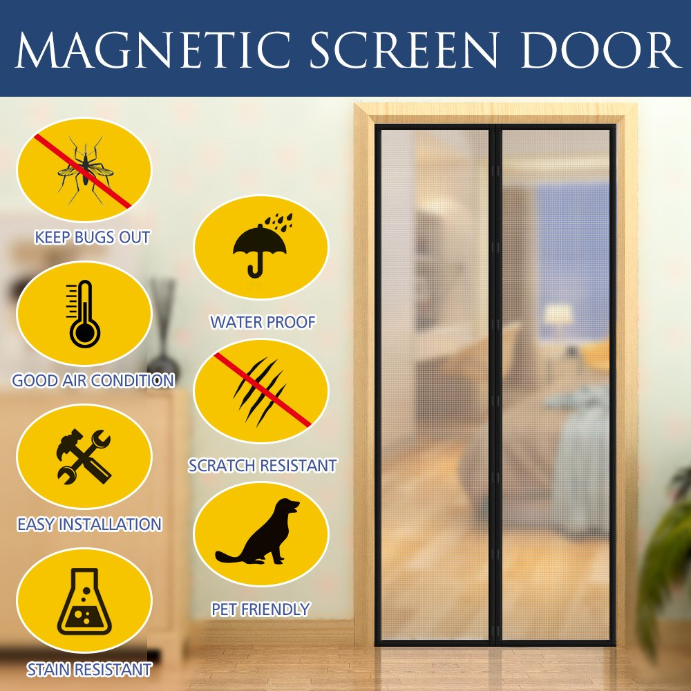 [Upgraded Version] Magnetic Screen Door with Thermal and Insulated EVA,Transparent Door Curtain Enjoy Cool Summer & Warm Winter Help Saving Electricity & Money, Fits Door Size up to 34''x82'' Max- Black