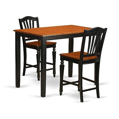 YACH3-BLK-W 3 Pcpub Table set-pub Table and 2 bar stools