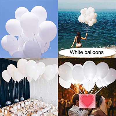 Latex White Balloons for Party 100 pcs 12 inch Macaron White Balloons for Baby Shower Birthday Wedding Engagement Anniversary Christmas Festival Picnic or any Friends & Family Party Decorations: Toys & Games