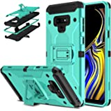 DONWELL Galaxy Note 9 Hybrid Shockproof Heavy Duty Rugged Full Body Protective Cover Built-in Rotating Kickstand and Swivel Belt Clip Holster Case for Galaxy Note 9 / SM-N960U (Turquoise)