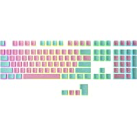 HK Gaming 108 Double Shot PBT Pudding Keycaps Keyset for Mechanical Gaming Keyboard MX Switches (Reverse Miami)
