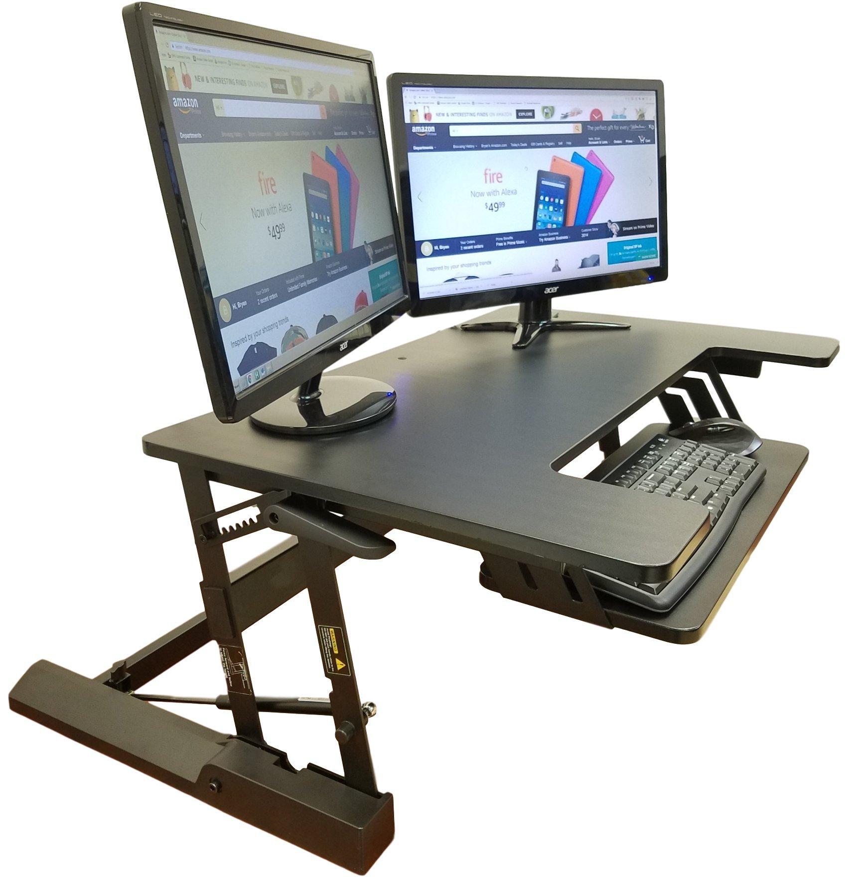 Standing Desk Height Adjustable Stand - Up Sit Stand Desks Converter Standup Workstation Fits Big Monitors 36'' Wide by High Supply