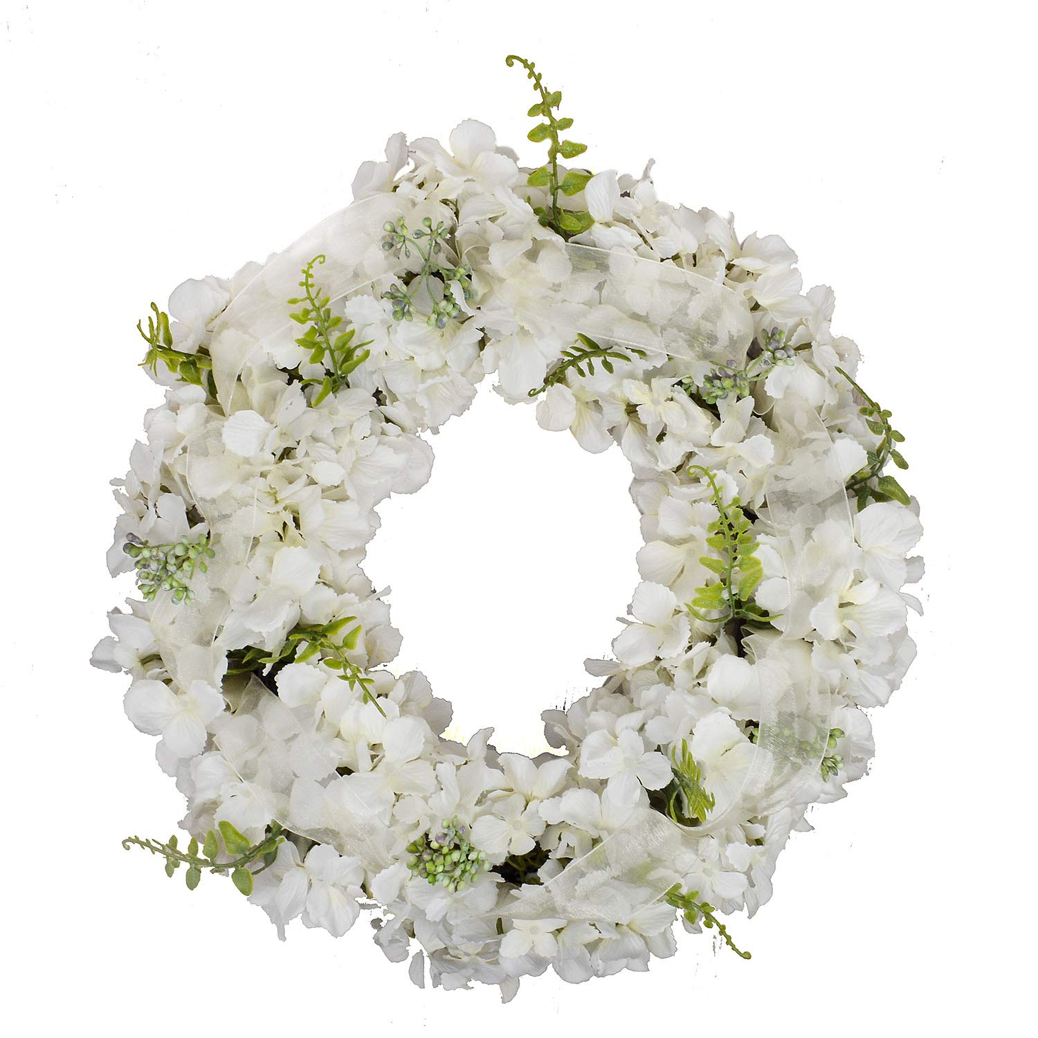 FAVOWREATH Vitality Series FAVO-W124 Handmade 15 inch White Hydrangea,Hello Letter,Grapevine Wreath for Summer/Fall Festival Front Door/Wall/Fireplace Every Day Nearly Natural Home Hanger Decor
