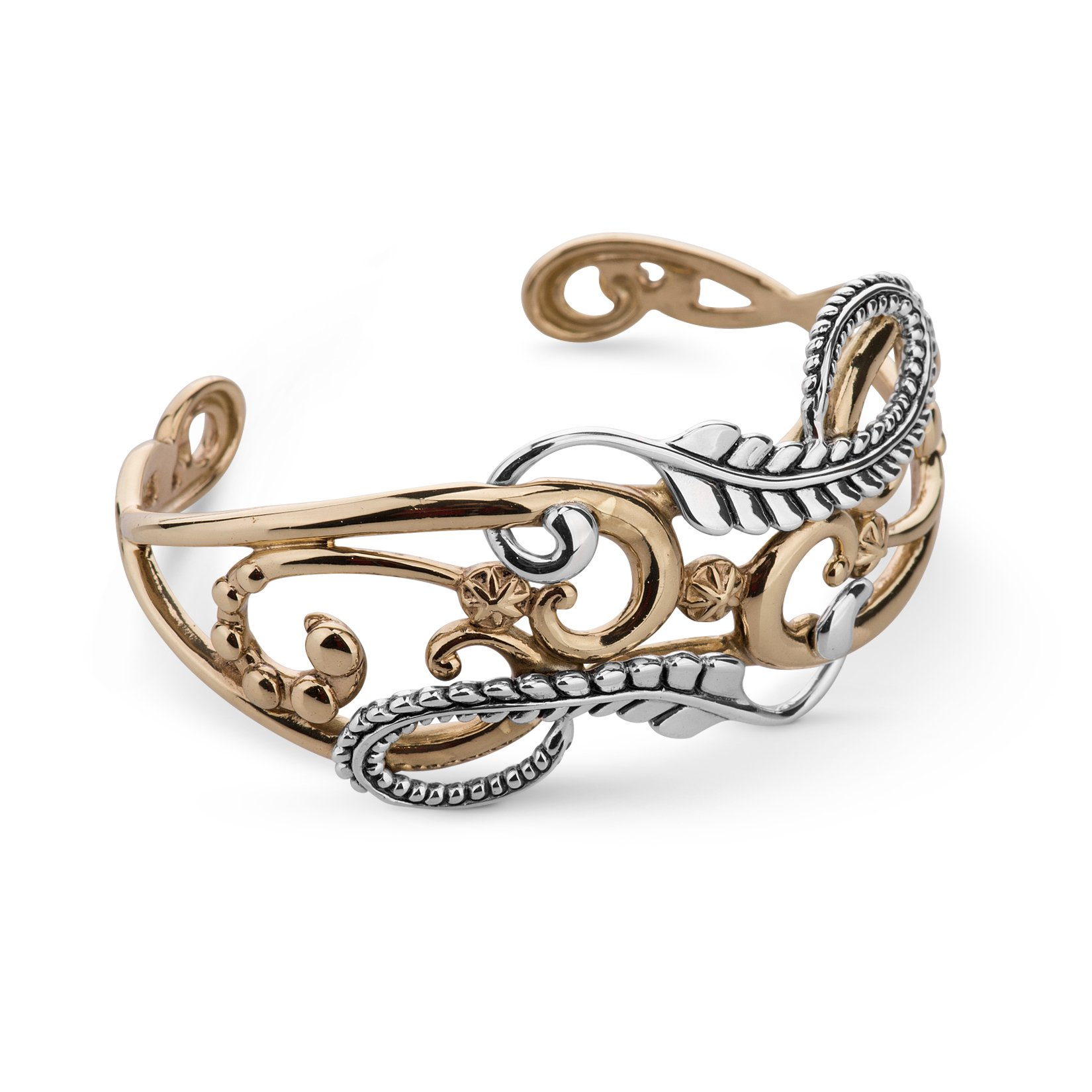 American West Sterling Silver Brass Swirl Leaf Cuff Bracelet- Large - Couture Collection