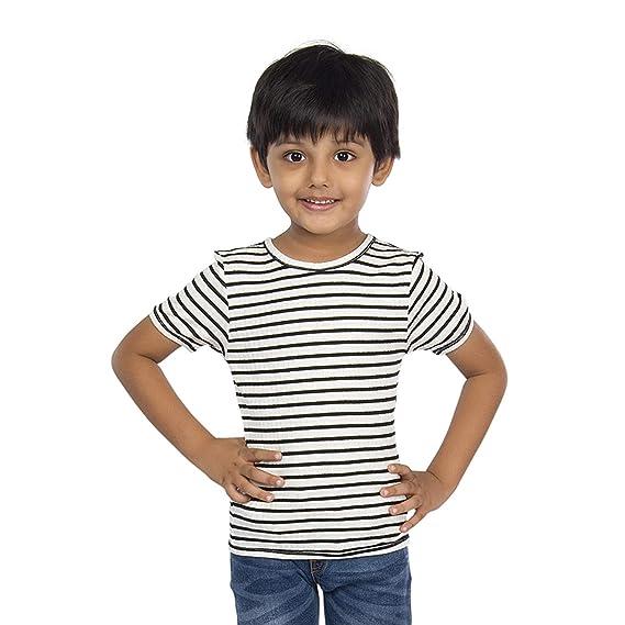 Buy Olele Round Neck Half Sleeve Black & White Stripe Tshirt   t-shirts for kids  Boys 5-6 years   baby Boys tees   baby Boys tshirt 1 and 2 years   tshirt