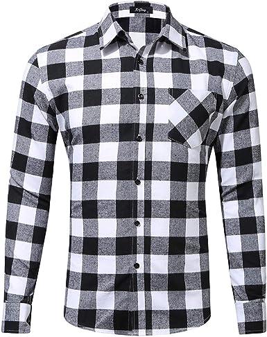 HCFKJ Ropa Hombre Invierno Casual Manga Largas Classic Invierno Americana TamañO Camisa Simple Bolsillo A Cuadros: Amazon.es: Ropa y accesorios