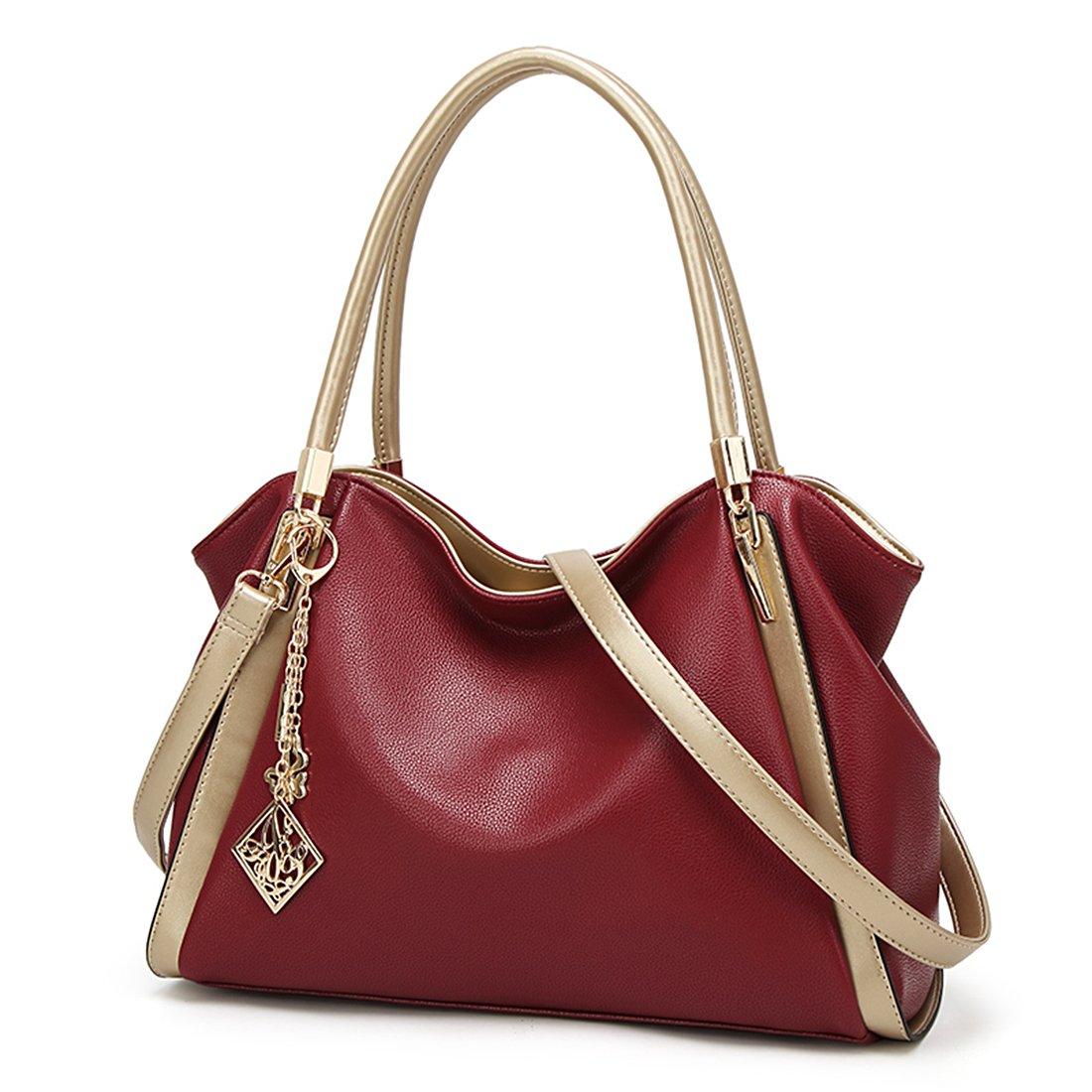 Soft Leather Purse Handbag Women Tote Hobo Bag Crossbody Shoulder Bag Purse(red)