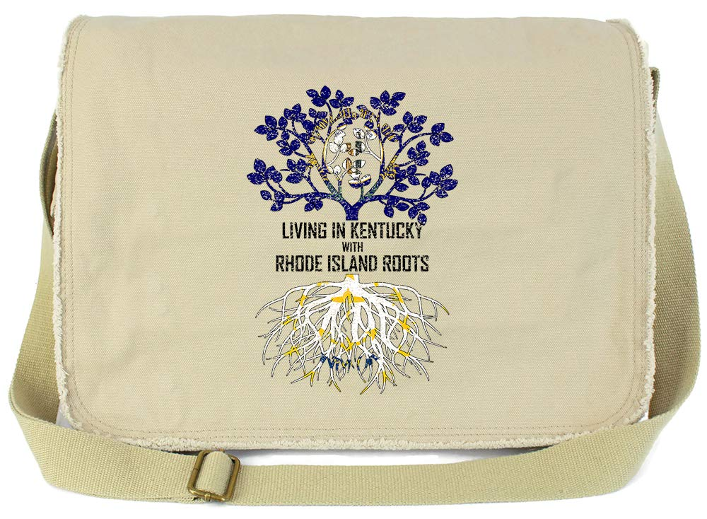Tenacitee Living In Kentucky with Rhode Island Roots Grey Brushed Canvas Messenger Bag