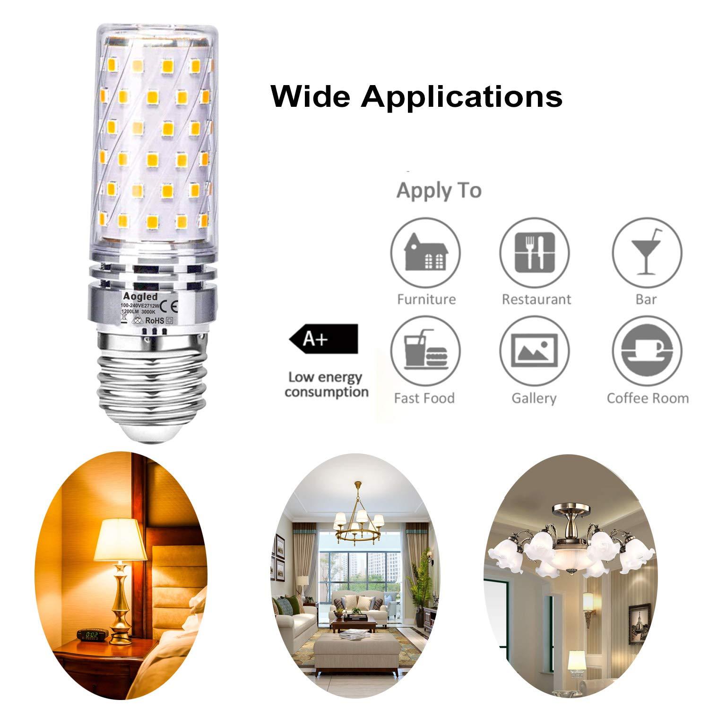 Aogled Ampoules Led E27 12W 1200lm,Équivalent Ampoule Halogène 100W,Blanc Chaud 3000K,360 Angle,Non Dimmable,Sans Vacillement,AC85-265V,Candélabre E27,Lot de 4