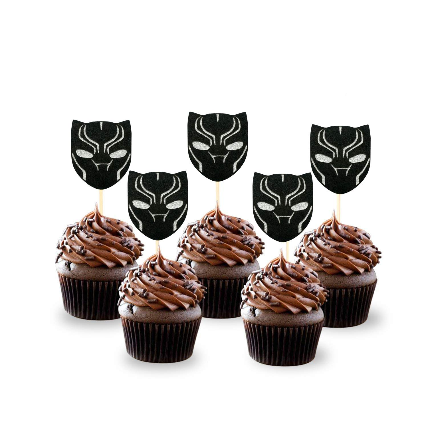 NiceLife Black Panther Cupcake Toppers(Set of 24) Birthday Party Decorations Supplies Avengers Party Decorations Party Supplies