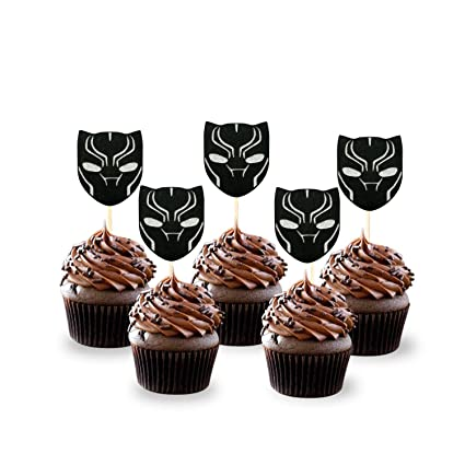 Amazon NiceLife Black Panther Cupcake ToppersSet Of 24 Birthday Party Decorations Supplies Avengers Toys Games
