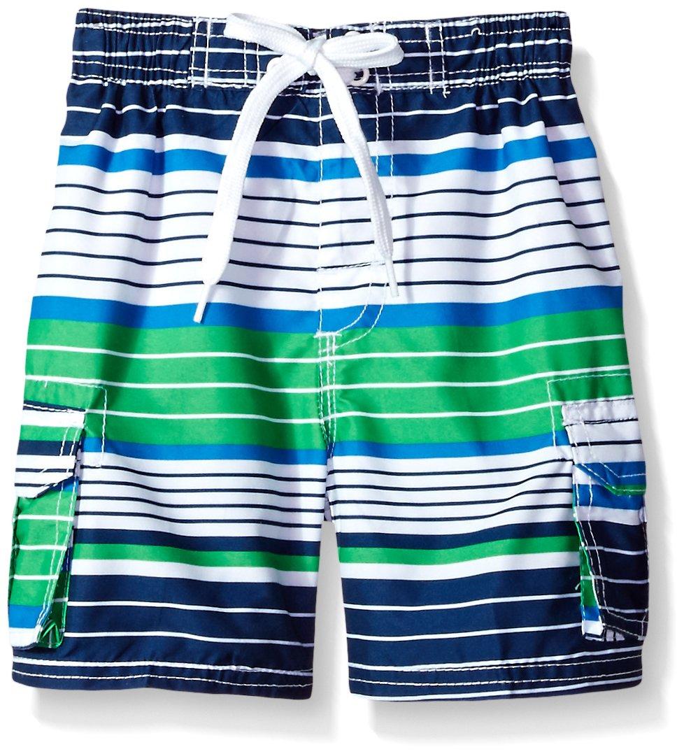 Kanu Surf Little Boys' Blake Stripe Quick Dry Beach Board Shorts Swim Trunk, Navy/Green, Small (4)