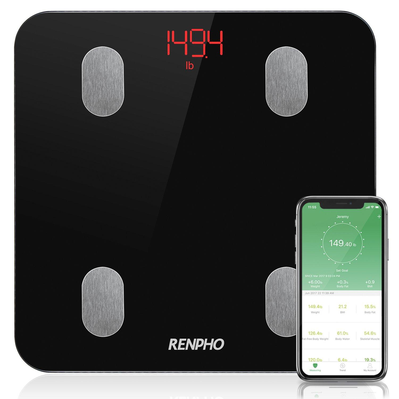 RENPHO Pesapersone Elettronica Intelligente Bluetooth con iOS e App per Android - Misura peso corporeo, grasso corporeo, acqua corporea, muscolo scheletrico, massa muscolare, massa ossea, proteine, BM