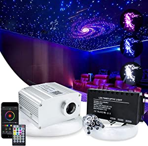 10W APP Controlled Car Use Fiber Optic Light Star Ceiling Kit Twinkle, LED RGBW Engine Driver with 28key RF Remote Control