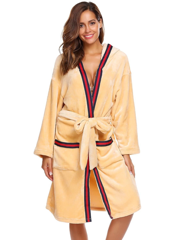 Aimado Man Women Winter Long Hodded Robe Warm Plush Flannel Bathrobe with Belt S-XL