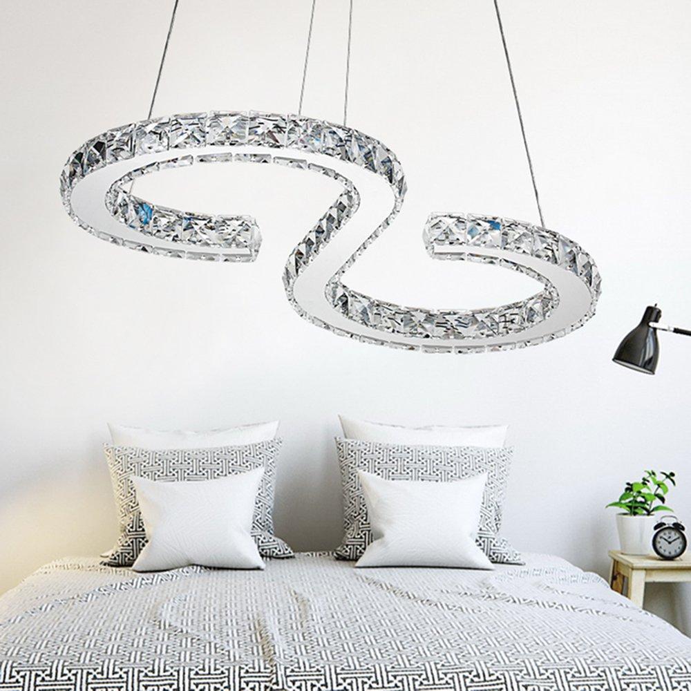 MCTECH®32W LED Kristall Pendelleuchte Pendelleuchte Pendelleuchte Höhenverstellbar Hängelampe Deckenlampe Kreative Kronleuchter Warmweiß Lüster f94528