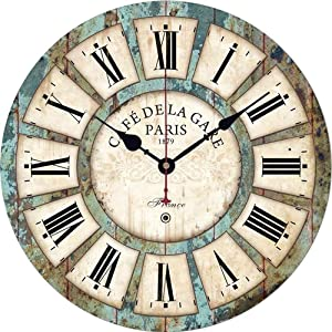 Qukueoy 12 Inch Silent Round Wooden Wall Clock Rustic Country Style, Battery Operated, Vintage Farmhouse Wall Decor for Living Room,Kitchen, Bedroom, or Office