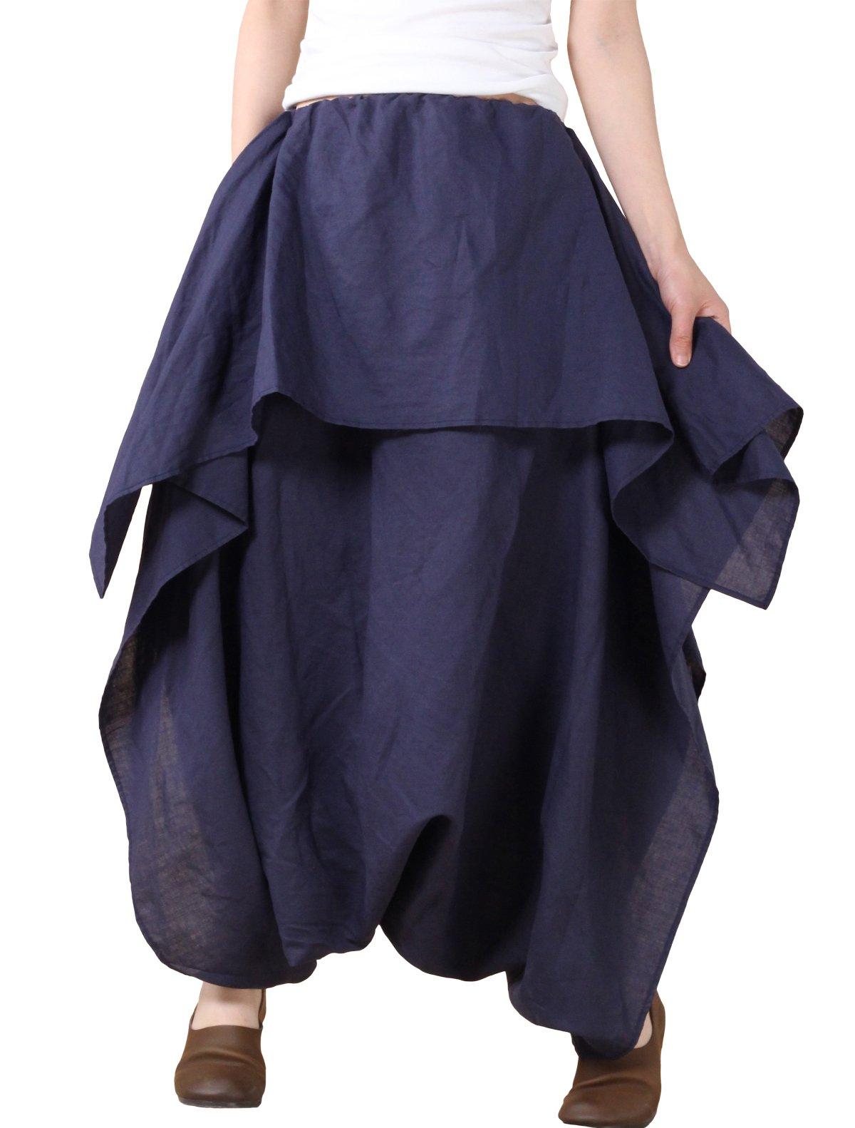 Mordenmiss Women's Travel Culotte Wide Leg Irregular Pants Dark Blue