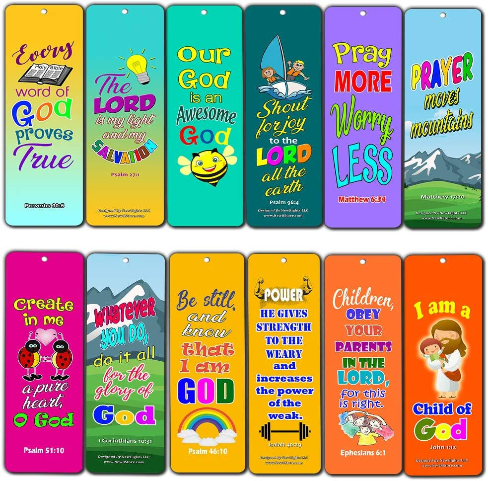 Easy Bible Scriptures for Kids - Colorful (60-Pack) - Great Way for Kids to Learn The Scriptures and Understand God's Word