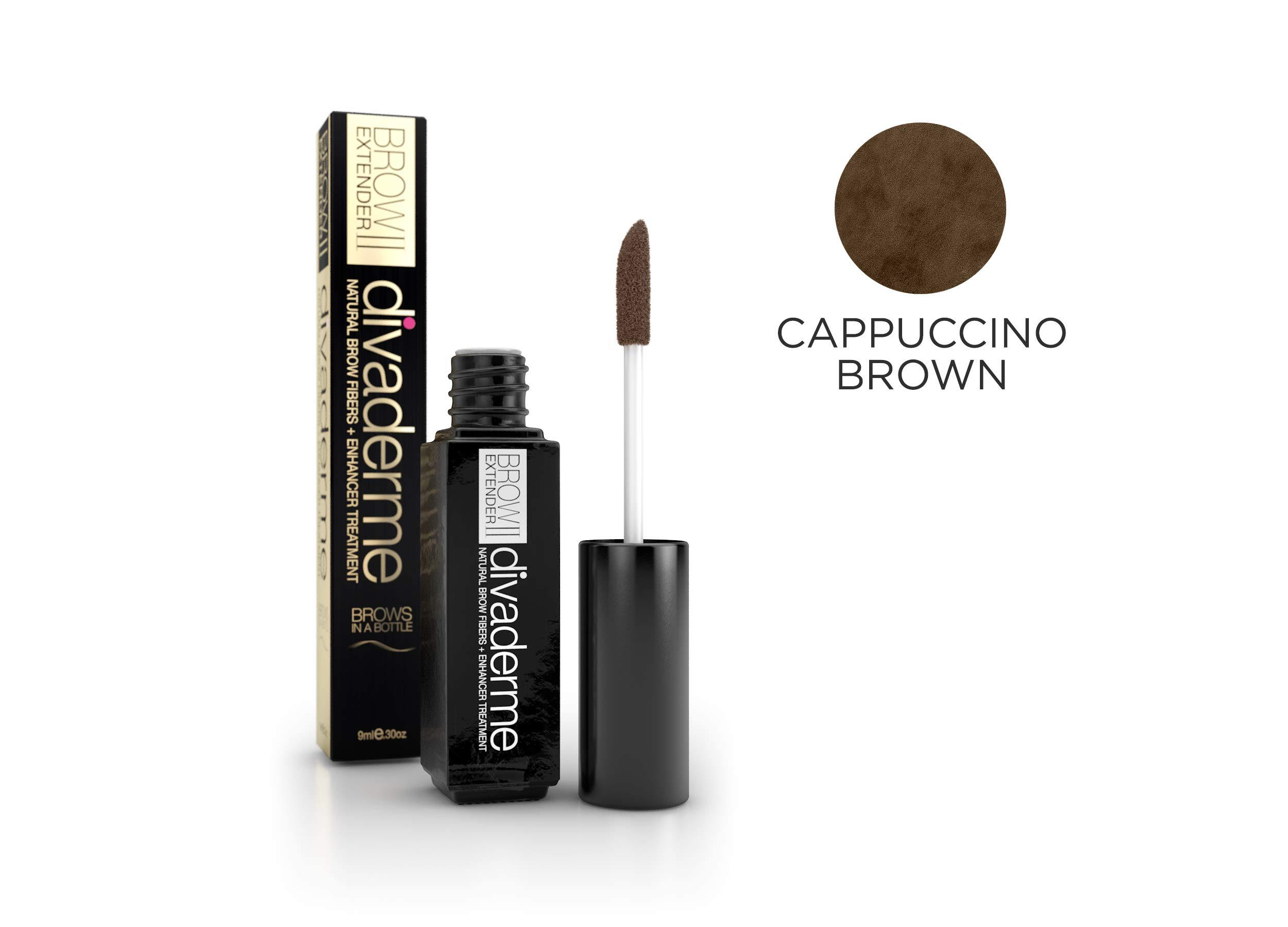 Divaderme BROW EXTENDER II - Cappuccino Brown 2-In-1 Natural Brow Fibers + Eyebrow Enhancer Treatment - Bold Healthy Eyelashes - Helps Grow Strong Eyebrows - Made in USA by divaderme