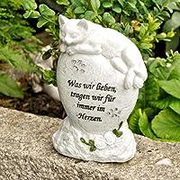 MW Handel Tiergrabstein Grabschmuck Katzen Gedenkstein Grabdeko Katze liegend auf Stein