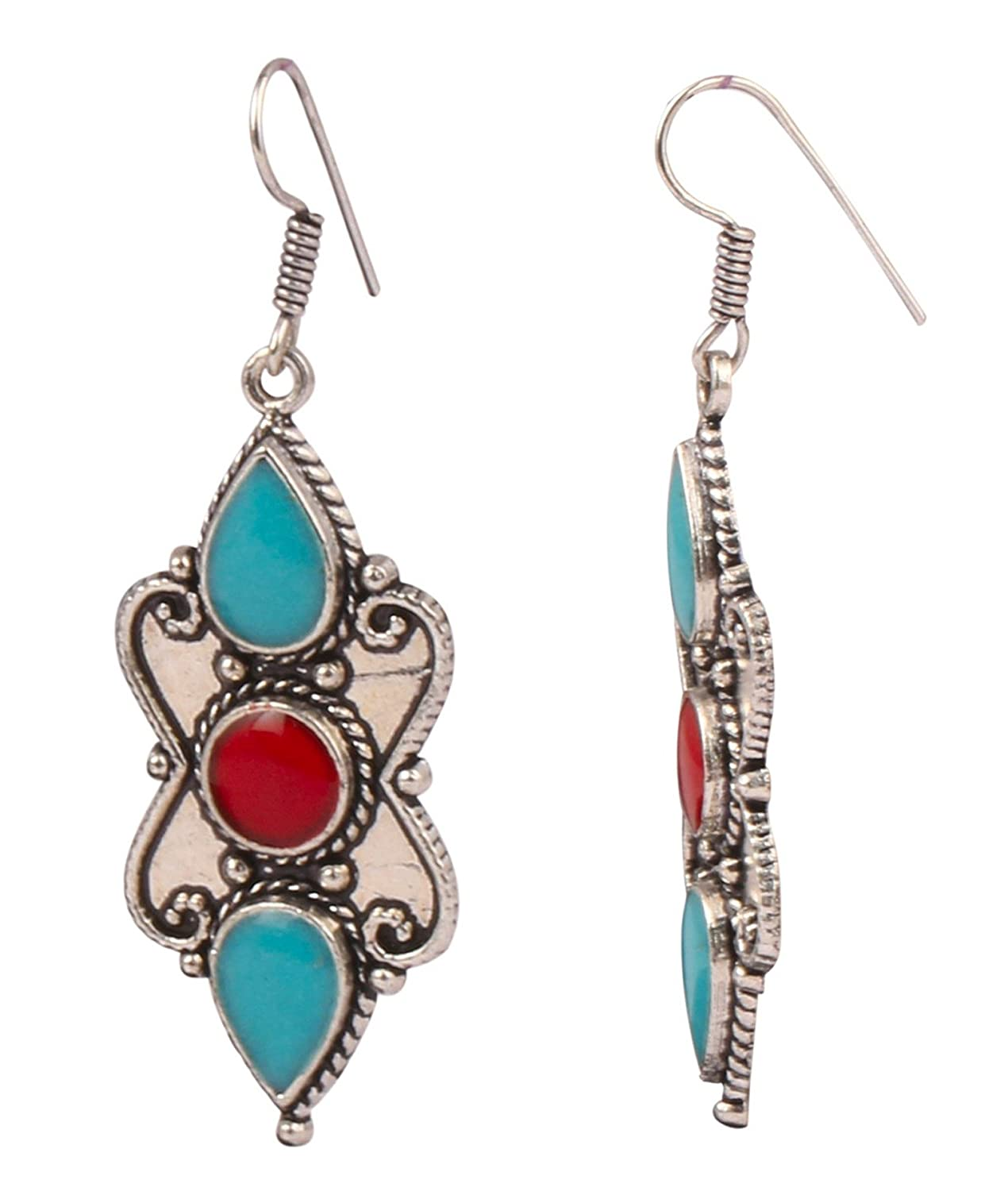 Sansar India Boho Silver Plated Oxidized Colored Drop Indian Earrings Jewelry for Girls and Women