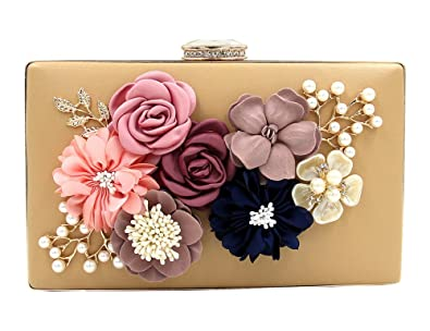 Womens Satin Flower Dinner Clutch Pearl Beaded PU Leather Evening Hand Bag (Apricot)