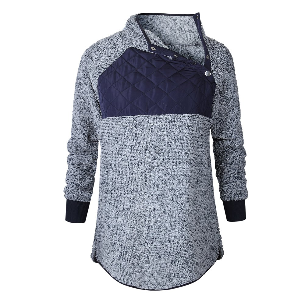 Romacci Women's Warm Long Sleeves Fleece Tops Stand Collar Oblique Buttons Casual Splice Pullover Outwear Coat