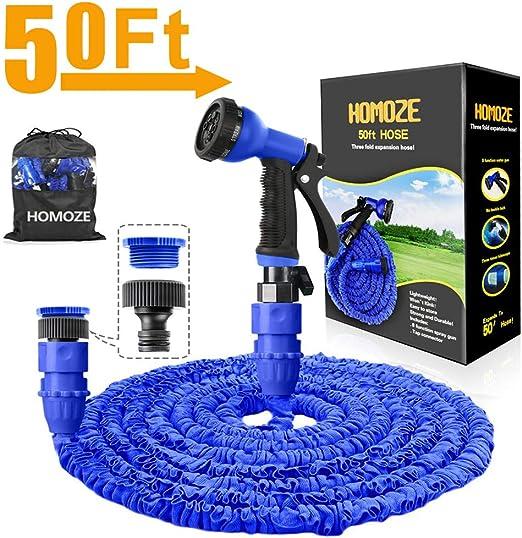 HOMOZE manguera de agua extensible de jardín de 50 pies con accesorios de 3/4 pulgadas, 1/2 pulgadas, anti-fugas, manguera extensible flexible con boquilla de pulverización de 8 funciones, azul: Amazon.es: Jardín