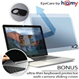 Homy Compatible Screen Protector for MacBook Air 13 inch + Keyboard Cover Ultra-Thin TPU + Anti-Spy Webcam Sliding Cover. Blue Blue 2018 or Later/Eyes Protection