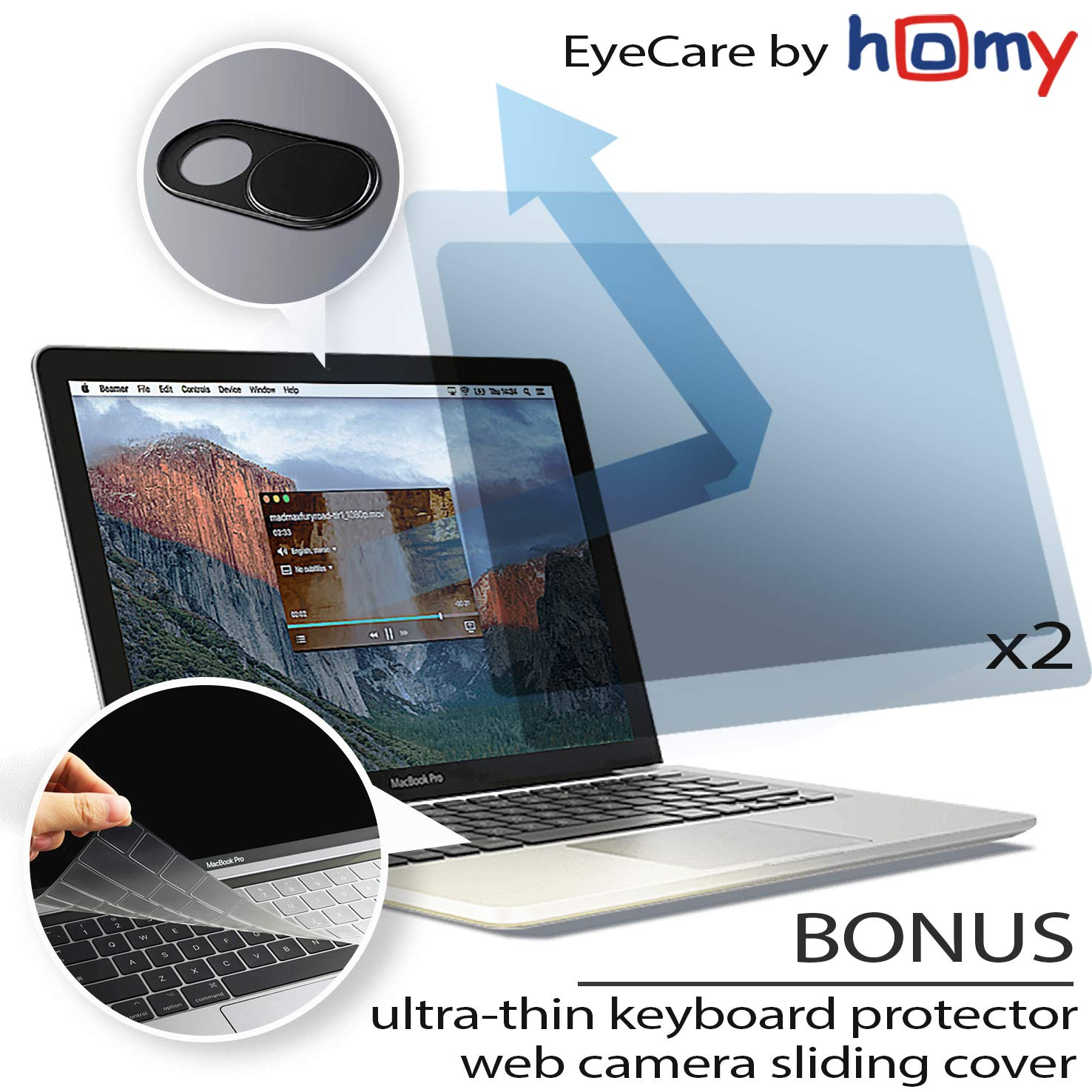 Homy Anti Blue Light Screen Protector Kit [2-Pack] for New MacBook Air 13 inch Retina 2018-2019 Touch-ID + Keyboard Cover Ultra-Thin TPU + Web Camera Sliding Cover/Eye Protection Kit for A1932 Model