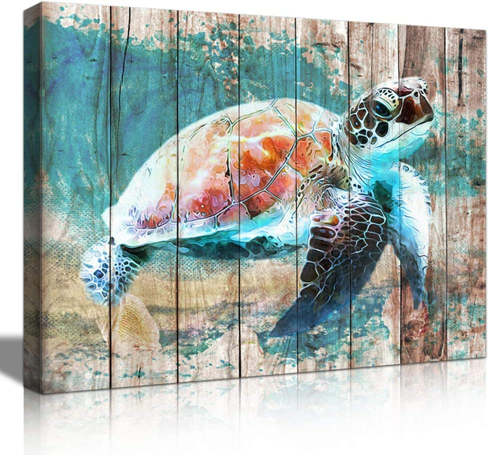 Sea Turtle Wall Art for Bathroom Decor Beach Watercolor Painting 12x 16inchesx 1 Piece Picture Framed Rustic Canvas Print Navy Blue Ocean Beach Nature Nautical Décor Moder Mediterranean Theme Watercolor Print with Seashell Starfish Beach Farmhouse Artwork Posters & Prints Inspirational Wall Art for Bathroom Décor Rustic Home Wall Décor Bedroom Décor Teal Décor Beach Wall Art Nautical Bathroom Décor Pictures for Bathrooms Nice Gift for Boy Girl Cuadros Para Baños Ready to Hang